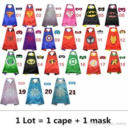 Wholesale Christmas Masks For Sale - Hot Sale 70*70CM Superhero Capes and Masks Kids Capes Double Layers Spiderman Cape Christmas Halloween Cosplay For Children's Day Gifts