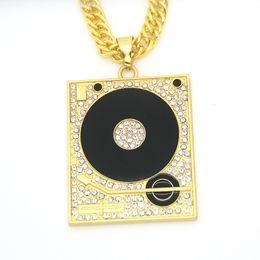 Wholesale rap necklaces - Fashion Hip hop rap necklace male DJ phonograph drip Gold pendant necklaces men nightclub charm chain necklaces Jewelry gifts Accessories