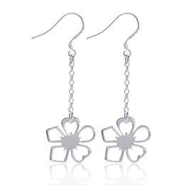 Wholesale Ear Hook Flower - Hermosa Earring Wholesale Factory Outlet Sterling Silver Fine Chain Hanging Lucky Grass Ear Hook Girl Ladies Long Flower
