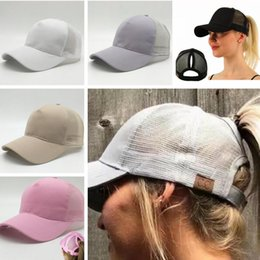 Wholesale Sun Logos - Hot Women CC ponytail baseball hat with CC logo Fashion Girls baseball softball hats back hole Pony Tail Sun snapback caps for women C665