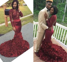 Wholesale Dark Red Flower Girl Dresses - African Fashion Black Girls Mermaid Prom Dresses With Ruffle Flowers 2017 Long Sleeves Lace Appliques Backless Evening Dresses Party Gowns