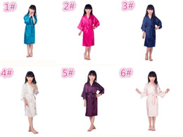 Wholesale Christmas Pajamas For Children - 6 colors Fashion children sleepwear kid's Solid Silk Kimono Robe for Party Night Gown Pajamas M025