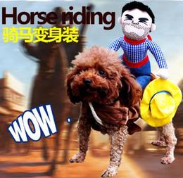 Wholesale Funny Costumes Sale - Hot Sale Dog Suit Pet Clothes Dog Clothes Pet Cowboy Horse Riding Clothes Dog Costume Novelty Funny Party Cat Clothing Funny