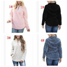 Wholesale Girls Clothing Coats - Women Sherpa Jacket Hooded Coat Warm Outwear Women's Clothing Half Zipper Pullover Sweatshirt Hip Hop Streetwear LJJK831