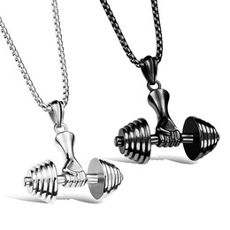 Wholesale Barbell Jewellery - Colar Fitness Dumbbell Necklace Men Jewelry Cool Gift Casual Sporty Barbell Stainless Steel Pendant Necklaces Mens Jewellery
