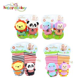 Wholesale Monkey Baby Rattle - Happy monkey 0-3months cute animal Cartoon baby Toy Wrist Strap Rattle Ring Bells Newborn socks Infant Birthday Gifts Unisex A672