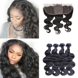 Canada Soie Base Dentelle Frontale avec 4 Faisceaux Trame de Cheveux Non Transformés Péruvienne Corps Vague de Corps avec Fermeture FDSHINE cheap peruvian silk frontal closures Offre