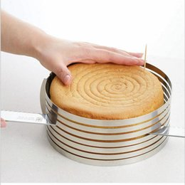 Kit retrátil on-line-Aço inoxidável DIY ajustável Retrátil Circular Ring Cake Layered Slicer Baking Tool Kit Set Mousse Mold Slicing