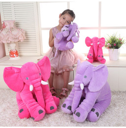 Wholesale Wholesale Baby Elephant Plush - 5 colors Fashion Elephant Pillow Baby Doll Children Sleep Pillow Birthday Gift INS Lumbar Pillow Long Nose Elephant Doll Soft Plush