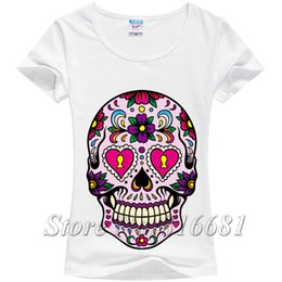 Wholesale Silk T Shirts For Women - Wholesale- New 2014 hot mexico flower sweet skull print t shirt for women short sleeve milk silk Grunge Rock calavera tee women tops