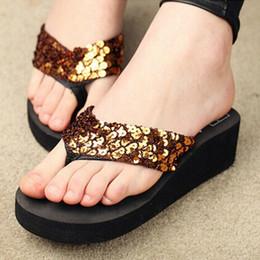 Wholesale Ladies Sequin Shoes - Sandalias Mujer Women Sequins Sandals Beach Slippers Shoes Summer Sandals Flip Flops Lady Wedges Shoes Woman sapatos RD670951