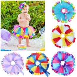 Wholesale Girls Rainbow Yarn Dress - Fashion Girls dresses net yarn skirt rainbow skirt Children performing skirts Tutu skirt Skorts Baby Kids Clothing Skirts 1010