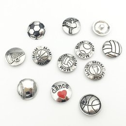 Wholesale Wholesale Baseball Mom - 8 Sports Styles Metal Snap Button Charms Baseball Volleyball Basketball Mom Dance Snap Buttons Fit For 18mm DIY Snap Jewelry