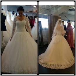 Wholesale Sparkling Bridal Gowns - 2018 Vintage Cheap Wedding Dresses A Line V Neck Lace Applique Crystal Beaded Sparkle Long Sleeves Sweep Train Formal Plus Size Bridal Gowns