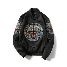 Wholesale Coats Chinese Collars - Bomber Jacket Men Casual Jacket Coat mens jackets and coats Chinese Style Qing Dynasty Dragon Embroidery 2017 Spring Plus Size