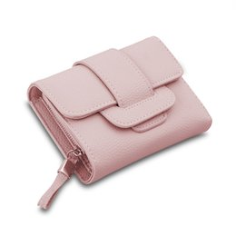 Wholesale Tri Fold Purse - New Luxury Soft Leather Women Hasp Wallet Fashion Tri-Folds Clutch For Girls Coin Purse Card Holders Female Multifunction Money Bag dhY-312