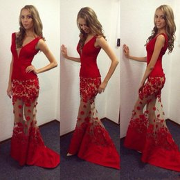 Wholesale Silver Handmade Hand Charm - Charming Red Sexy Plunging V Neck Mermaid Evening Dresses 2017 Handmade Flower Appliqued Illusion Tulle Prom Dresses Celebrity Prom Dresses