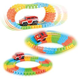 Wholesale Toy Tracks Cars - Wholesale Diecast DIY Puzzle Toy Roller Coaster Track Electronics Toy Car Rail Car Toy for Children Random Color