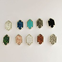 Wholesale Drusy Stud Earrings - Fashion Oval Druzy Earrings Silver Plated Drusy Geometry Hexagon Stone Earrigns Best for Lady Various Mix Colors Choose Colors