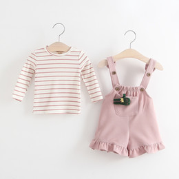 Wholesale Toddler Stripe Pants - Everweekend Toddler Girls Autumn Outfits Overall Pants and Stripes Tees 2pcs Sets Sweet Children Fashion Autumn Clothing