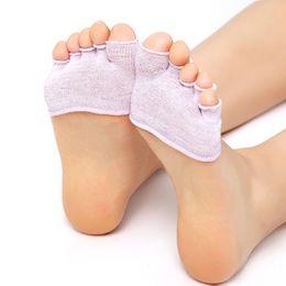 Wholesale Ankle Skid Socks - Wholesale- Hot 2 Pair Half Foot Socks Finger Skid Peep Toe Anti Slip Pilates Ankle Durable High Heel Half Open Five Esporte Work Out Socks