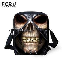 Wholesale Male Shoulder Cross Body Bag - Wholesale- FORUDESIGNS Cool Punk Skull Shoulder Bags Famous Brand Designers Men Messenger Bags Men's Travel Bag Casual Male Crossbody Bag