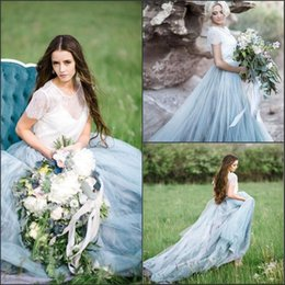 Wholesale Short Fairy Dress White - 2017 Fairy Summer Boho Wedding Dresses Tiers Tulle Short Sleeve Vintage Lace top with Blue Skirt Charming Bridal Gowns Vestido De Novia