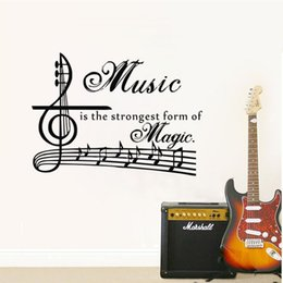 Wholesale Music Vinyl Wall Sticker - Music Is The Strongest Form Of Magic Wall Stickers Quotes Musical Note Wall Decals Vinyl Adhesive Stickers