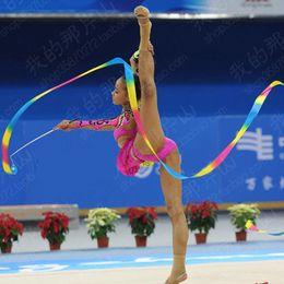 Wholesale Gymnastic Cloth Children - Wholesale- Hot Dance Colorful Ribbon Gym Rhythmic Gymnastic Art Ballet Streamer Twirling Rod Outdoor Games Adult Toys For Children