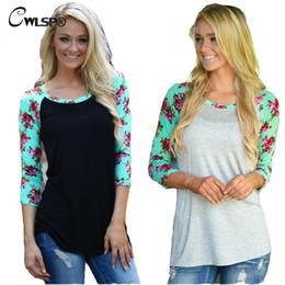 Wholesale Stripes Maxi - Wholesale-Fashion Latest TShirt Women Long Raglan Sleeve Stripe Floral Patchwork Maxi Size S-3XL t-shirt Female poleras de mujer QA1413