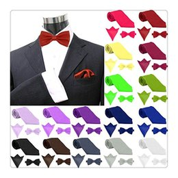 Wholesale Silk Wholesale Men Tie Sets - 2017 Fashion Mens Ties Set Polyester Skinny Neck Ties Satin Solid Color NeckTies Hanky Handkerchief Pocket Square 3pcs Set Men Gift Ideas