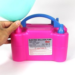 Wholesale Electric Air Inflator - Wholesale-Portable Air Blower Electric Balloon Inflator Pump Two Nozzle High Power Pink Color for birthday party Wedding