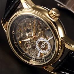 Wholesale Orkina Automatic - Wholesale- ORKINA Clock Men Leather Skeleton Watch Classic Retro Golden Case Relogio Male Masculino Mechanical Automatic Watch