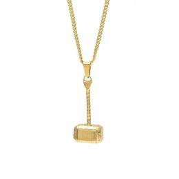 Ciondoli a forma di martello maschile Catene di moda Collane Gioielli Design Uomini Punk Filling Pieces Mens Gold Plated Collana Hip Hop per uomo da