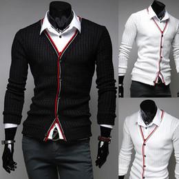Wholesale Mens High Fashion Wear - Hot new Mens Stylish Cardigan Sweater Knit Wear Casual Slim Knitting Shirts Black White High quality