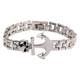 Wholesale Titanium Bracelets For Mens - Unisex Mens Jewelry Titanium Steel Oil Drip Skull Head Anchor 19cm Long Chain Wristband Bracelets Bangles New Arrivals for Party