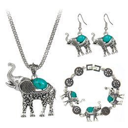 Wholesale Turquoise Elephant Necklaces - Bohemian Style Fashion Green Red Black Turquoise Jewelry Vintage Cute Elephant Necklace For Women Girl Hot Sale 2016