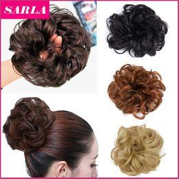 Wholesale Christmas Hair Bundles - 1PC Synthetic Hair Chignon Elastic Scrunchee Hairpiece Donunt Buns Hair Bundles Hairpieces Natural Hair Bun Extension Chignons