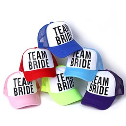 Wholesale Neon Table - Wholesale- 2016 new BRIDE TO BE TEAM BRIDE Bachelorette Hats Women Wedding Preparewear Trucker Caps White Neon Summer Mesh Free Shipping