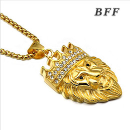 Wholesale Cheap Hip Hop Necklaces - Cheap fashion jewelry 2017 new arrival punk style hip hop 18k gold plated stainless steel crown lion head pendant necklace jewelry