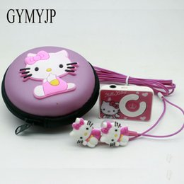 Wholesale Hot Cartoon Mp3 - 2017 new Hot cartoon hello Kitty mini music mp3 player with headphones and packaging birthday present Gift girl