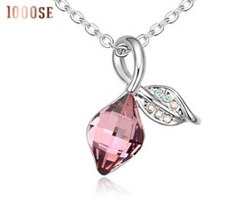 Wholesale Dancing Women Ornament - 2017 new 1000se Quality goods Crystal Necklace Leaves swaying dance jewelry woman Ornaments Pendant sale