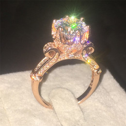 Wholesale 925 Silver Rose Flower Ring - Luxury 100% silod 925 Silver & rose gold Jewelry Brand Engagement Wedding Rings Flower Crown Design Diamond Level Gemstone Ring for Women