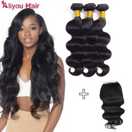 Wholesale Cheap Human Hair Extensions Wefts - Raw Indian Hair Bundles with Closure Wholesale Cheap Remy Human Hair Extensions Double Wefts with Lace Closure Body Wave Hair Weaves Closure