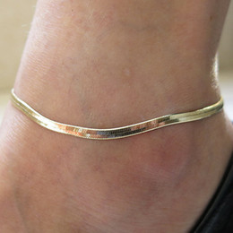 Wholesale Delicate Bracelets - New Fine Silver   Gold Plated Adjustable Flat Snake Chain Anklet Bracelet Women Simple Delicate Foot Chain Summer Beach Feet Jewelry