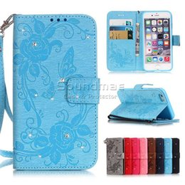 Wholesale Butterfly S6 - Rhinestone Butterfly Printing Wallet Case for iphone 7 6 6S Plus 5 5s se Samsung S6 S7 edge plus OPP BAG