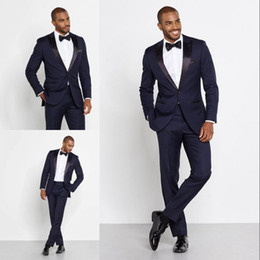 Wholesale Cheap Mens Bow Tie - New Arrival Dark Navy Mens Suits Slim Fit One Button Groom Wedding Tuxedos Cheap Two Pieces Custom Suit (Jacket+Pants+Bow Tie)