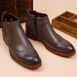 Wholesale Korean Winter Boot Male - Wholesale- Winter boots boots with cashmere male Korean leather boots in England increased locomotive fashion men's shoes