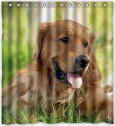 """Wholesale Pictures Cartoon Dogs - Hot Sale Dog Golden Retriever Theme 100% Polyester Picture bathroom curtain Shower Curtain (66"""" x 72"""" ) Shower Rings Included with Hooks"""
