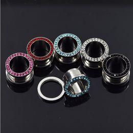 Wholesale Double Flared Gauges - Wholesale CZ Gem Rim Steel Ear Flesh Tunnels Double Flare Screw Fit Ear Gauge Plugs 20pcs